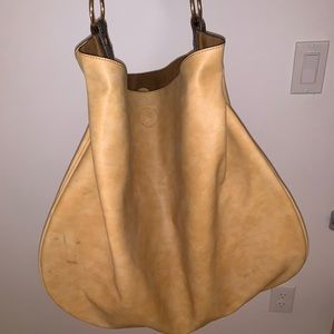 Anthropologie Tan Slouch Tote Bag